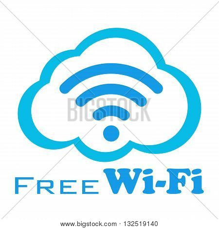 Free wifi vector sign. Wireless Network icon. Wifi zone. White and blue flat button with wi-fi symbol. Modern UI element. Vector illustration isolated on white.