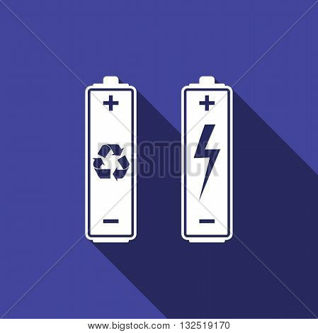 Battery with recycle symbol - renewable energy concept and renewable energy battery icon with long shadow. Vector illustration
