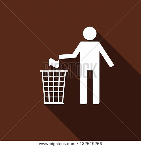 Recycle icon, man throwing trash into dustbin icon with long shadow. Vector illustration.