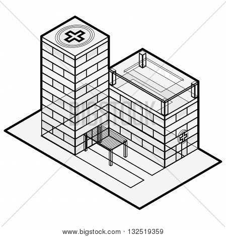Medical isometric building. Hospital building. Isometric building. Blue hospital. Illustration for scientific article. Blog presentation. Pharmacy pictogram. Clinic chemistry. Isolated master vector.