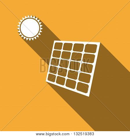 Solar energy panel icon with long shadow. Vector illustration