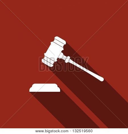 Gavel - hammer of judge or auctioneer icon with long shadow judge gavel. Vector illustration