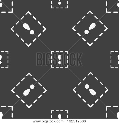 The Exclamation Point In A Square Icon Sign. Seamless Pattern On A Gray Background. Vector
