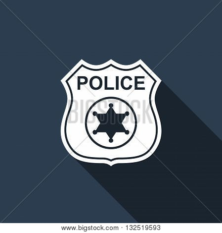 Police badges icon with long shadow. Vector illustration