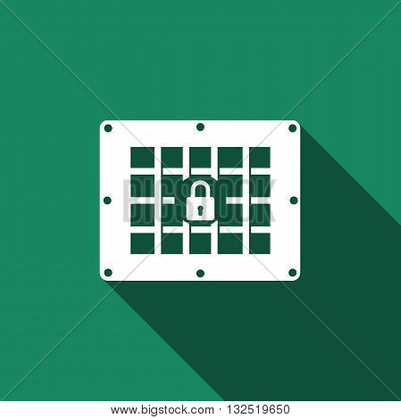 Prison window icon with long shadow. Vector illustration