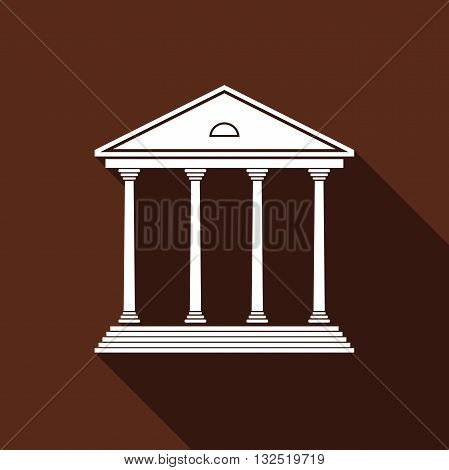 Courthouse icon with long shadow. Vector illustration