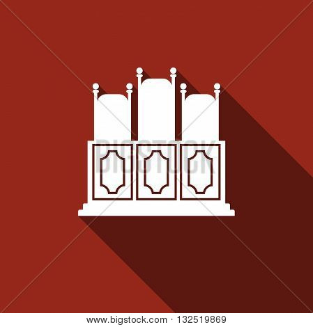 Court's room with table, chairs icon with long shadow. Vector illustration