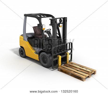 Forklift Loader Whith Pallet Isolated On White 3D Render