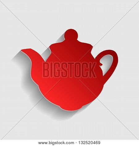 Tea maker sign. Red paper style icon with shadow on gray.