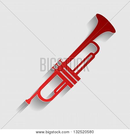 Musical instrument Trumpet sign. Red paper style icon with shadow on gray.