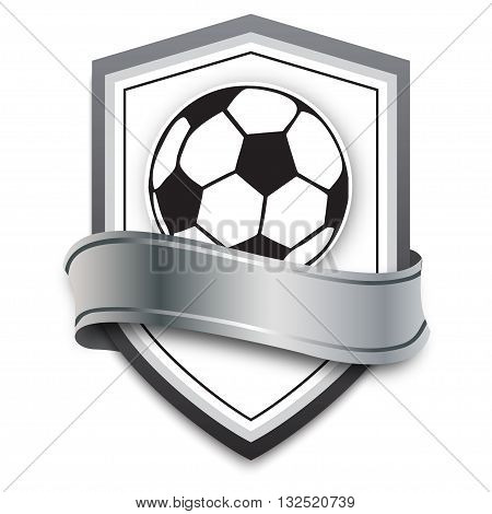 vector soccer ball on the silver background. football emblem for soccer games online, banners, poster or college teams