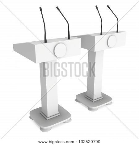 Two 3d Speaker Podiums. White Tribune Rostrum Floor Stands with Microphones. 3d render isolated on white background. Debate press conference concept