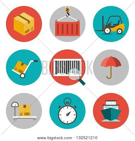 Logistic flat icons. Concepts of delivery, shipping process, ecommerce and logistics