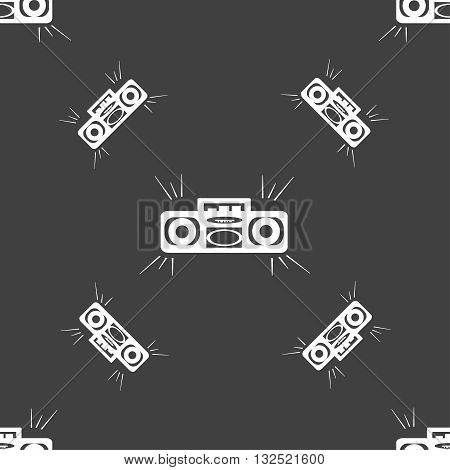 Radio Cassette Player Icon Sign. Seamless Pattern On A Gray Background. Vector