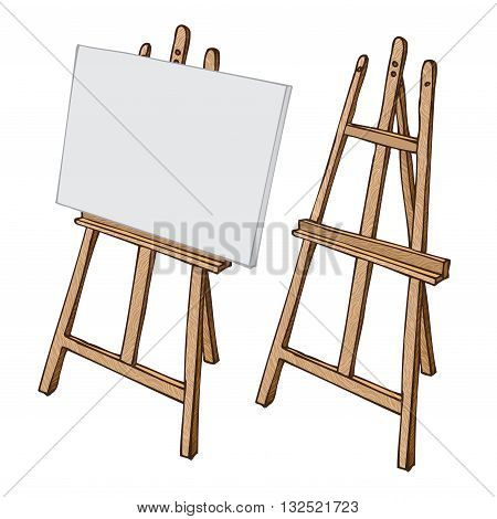 Wooden painting easel with blank canvas cartoon black and white and color hand drawn sketch style isolated on white background. Vector illustration.