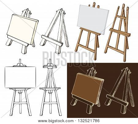 Wooden painting easels set. Easel with blank canvas cartoon black and white and color hand drawn sketch style isolated on white and dark background. Vector illustration.