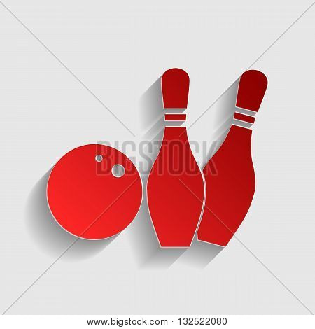 Bowling sign illustration. Red paper style icon with shadow on gray.