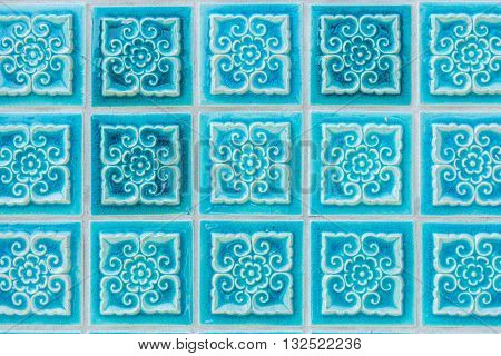 Pattern of turquoise flower glazed tiles. Abstract Background.