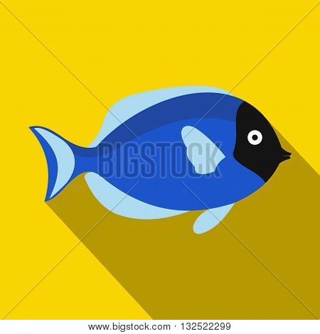 Surgeon fish icon in flat style with long shadow. Sea and ocean symbol