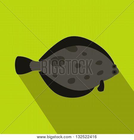 Fish flounder icon in flat style with long shadow. Sea and ocean symbol