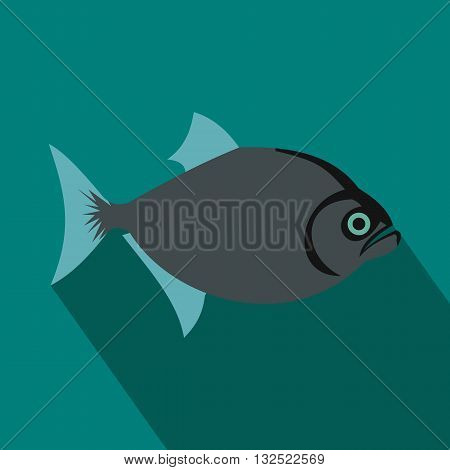 Vampire fish icon in flat style with long shadow. Sea and ocean symbol