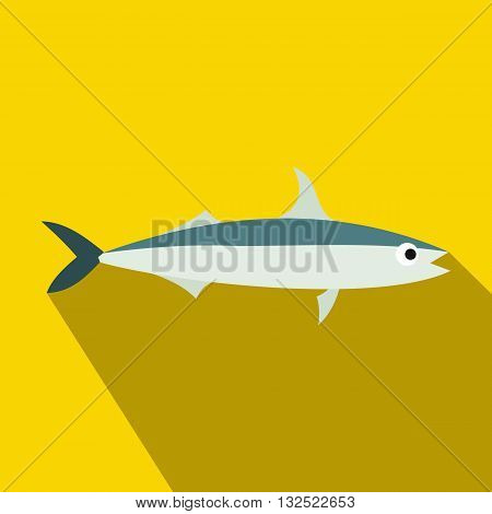 Smelt fish icon in flat style with long shadow. Sea and ocean symbol