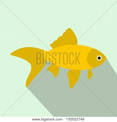 Goldfish icon in flat style with long shadow. Sea and ocean symbol