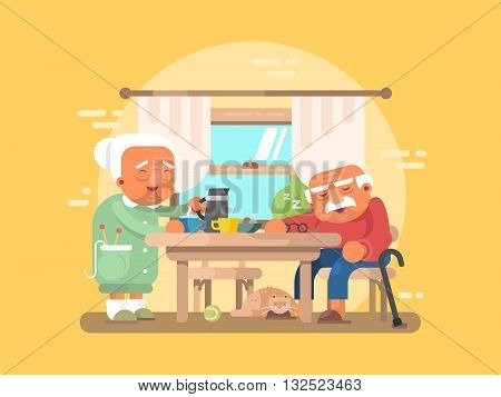Grandparents breakfast flat. Grandfather and grandmother elderly character, vector illustration