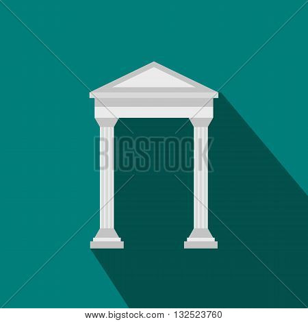 Arch with roof icon in flat style with long shadow. Construction and interiors symbol