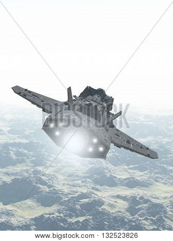 Science fiction illustration of an interplanetary spaceship in the atmosphere flying over the mountains of an alien planet, 3d digitally rendered illustration (3d rendering, 3d illustration)