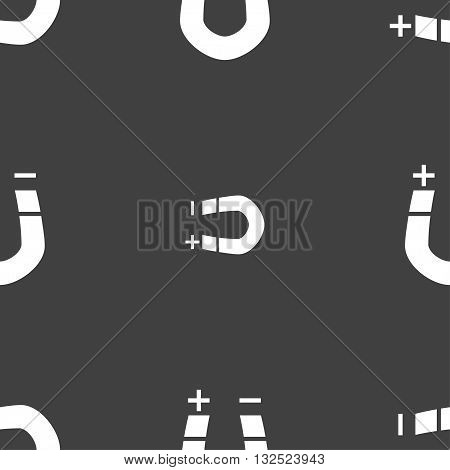 Horseshoe Magnet, Magnetism, Magnetize, Attraction Icon Sign. Seamless Pattern On A Gray Background.