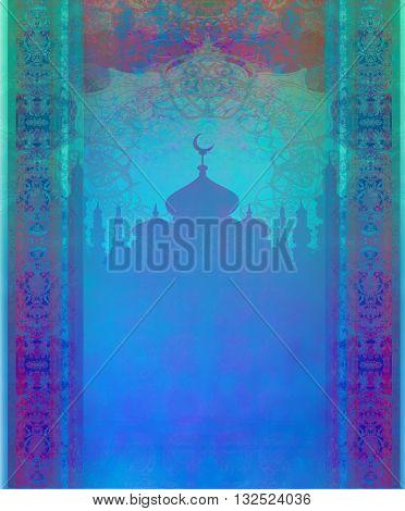 ramadan kareem with temple silhouette card , raster