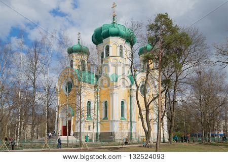 GATCHINA, RUSSIA - APRIL 24, 2016: View of the Cathedral of St. Paul, sunny april day. Religious landmark of the city Gatchina