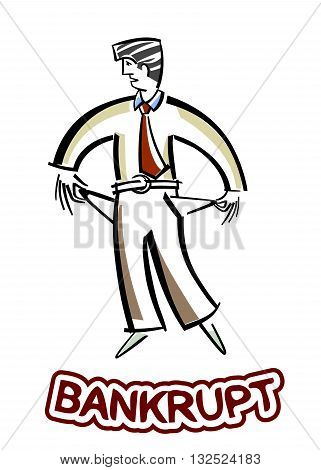 Vector illustration of a businessman with no money