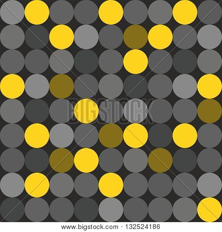 Tile vector pattern with grey and yellow polka dots on black background