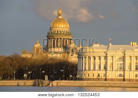 SAINT-PETERSBURG, RUSSIA - APRIL 23, 2016: St. Isaac's Cathedral close-up, evening in april. Historical landmark