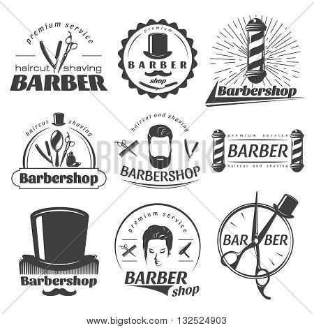 Barbershops graphic emblems with poles hat scissors mirror mustache beard comb razor female face isolated vector illustration