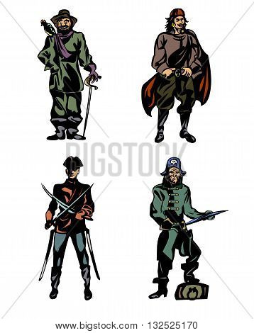 Vector illustration of a four brave pirates