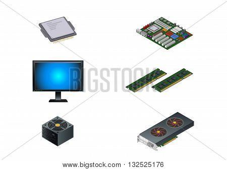 Vector illustration of a six computer parts