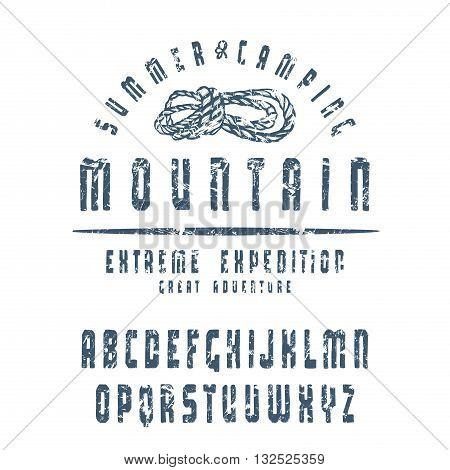 Sanserif font with hand-drawn soft shape. Font design for t-shirt. Blue print with shabby texture on white background