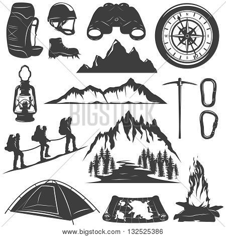 Mountain climbing decorative icons set with rocks tent bonfire map lantern helmet backpack compass isolated vector illustration