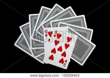 Poker cards, ten and nine of heart