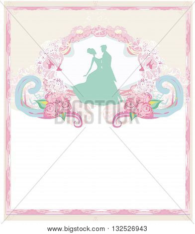 Wedding invitation card with floral elements , vector illustration
