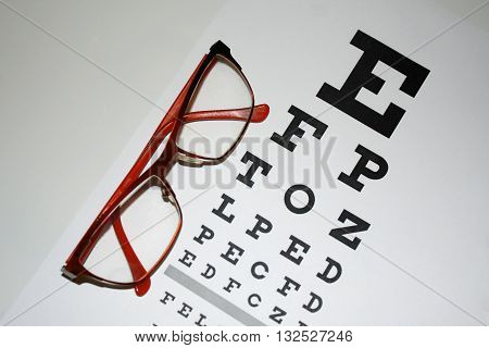 Reading - eyeglasses and eye chart close-up on a light background