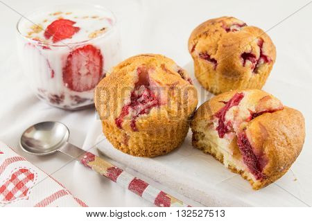 Strawberry Muffins And A Fresh Strawberries Parfait