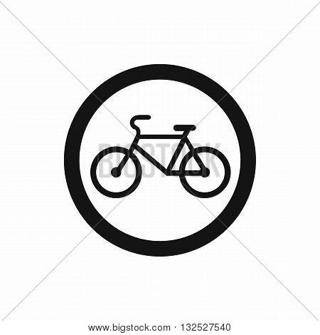 Travel by bicycle is prohibited traffic sign icon in simple style on a yellow background