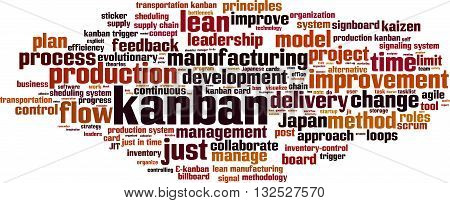 Kanban word cloud concept. Vector illustration on white