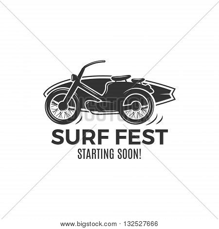 Vintage Surfing tee design. Retro Surf fest tshirt Graphics and Emblem for web design or print. Surfer motorcycle logo design. Surf Badge. Surfboard grunge seal, elements, symbols. Monochrome. Vector.