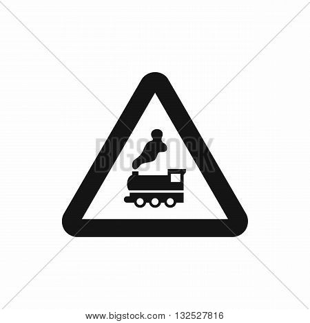 Warning sign railway crossing without barrier icon in simple style isolatedon white background