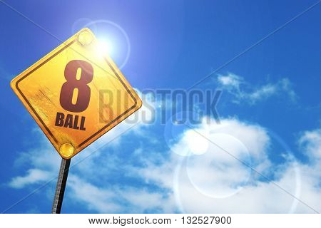 8 ball, 3D rendering, glowing yellow traffic sign